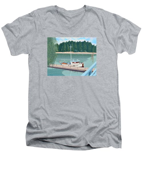 Men's V-Neck T-Shirt featuring the painting The Converted Fishing Trawler Gulvik by Gary Giacomelli