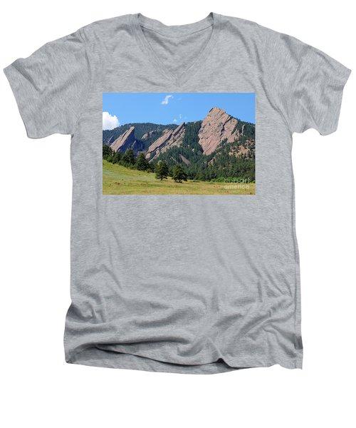 The Flatirons Men's V-Neck T-Shirt by Bob Hislop