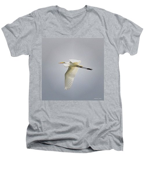 The Flight Of The Great Egret With The Stained Glass Look Men's V-Neck T-Shirt by Verana Stark