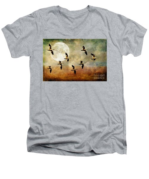 The Flight Of The Snow Geese Men's V-Neck T-Shirt by Lois Bryan