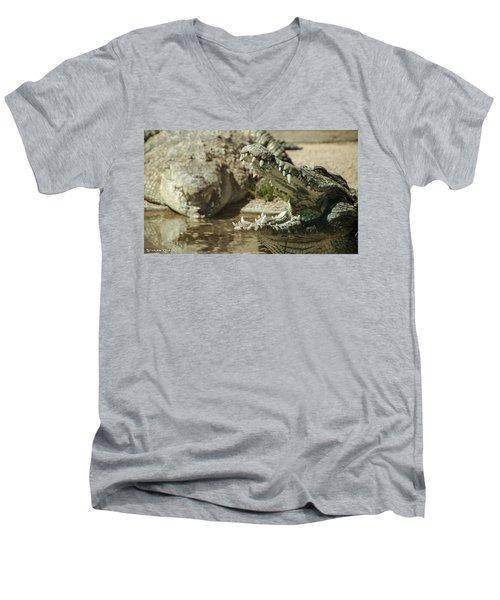 Men's V-Neck T-Shirt featuring the photograph The Fool Crocodile by Stwayne Keubrick