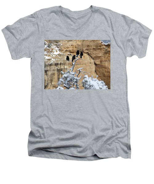 Men's V-Neck T-Shirt featuring the photograph The Four Crows by Laurel Powell