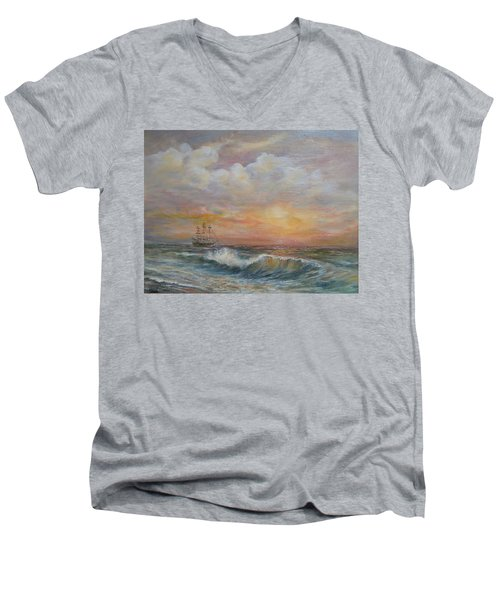 Men's V-Neck T-Shirt featuring the painting Sunlit  Frigate by Luczay