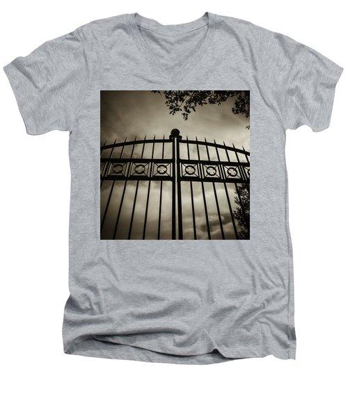 The Gate In Sepia Men's V-Neck T-Shirt by Steven Milner