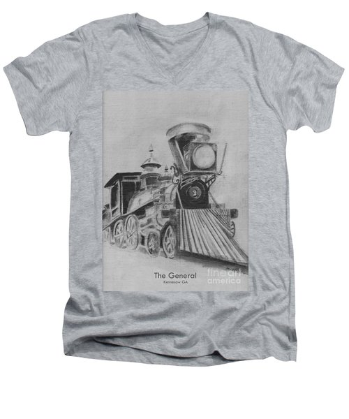 The General - Train - Big Shanty Kennesaw Ga Men's V-Neck T-Shirt