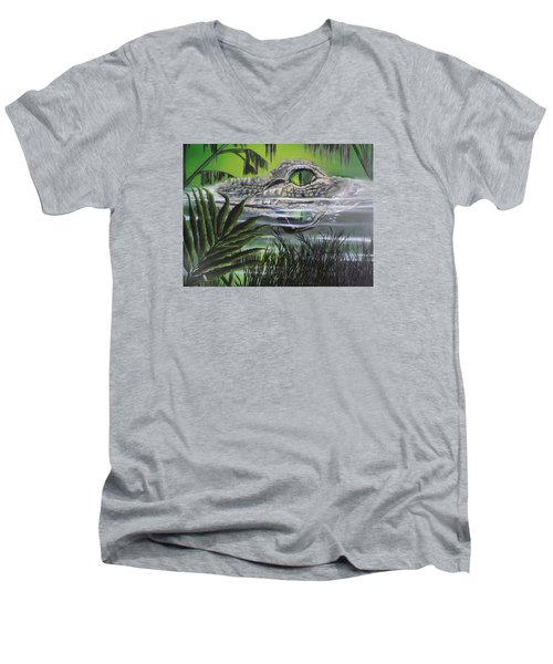 Men's V-Neck T-Shirt featuring the painting The Glades by Dianna Lewis