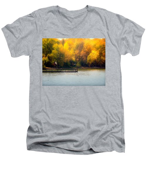 The Golden Hour Men's V-Neck T-Shirt by Lucinda Walter