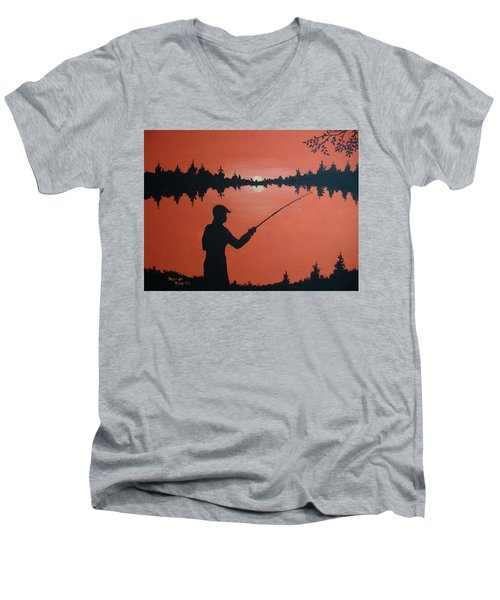 Men's V-Neck T-Shirt featuring the painting The Golden Hour by Norm Starks