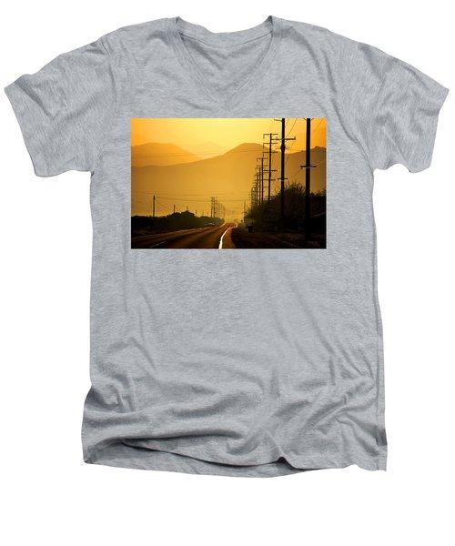 Men's V-Neck T-Shirt featuring the photograph The Golden Road by Matt Harang