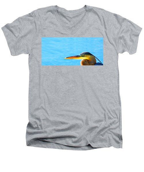 The Great One - Blue Heron By Sharon Cummings Men's V-Neck T-Shirt by Sharon Cummings