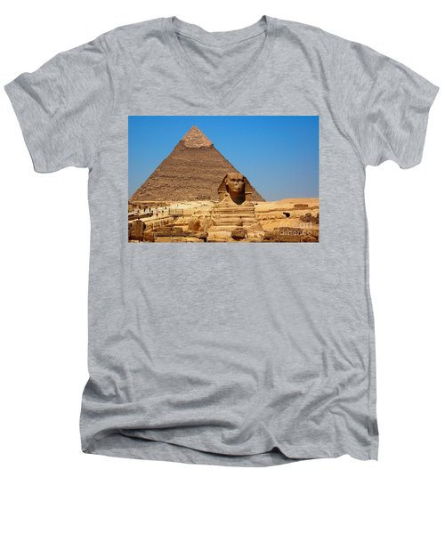 Men's V-Neck T-Shirt featuring the photograph The Great Sphinx Of Giza And Pyramid Of Khafre by Joe  Ng