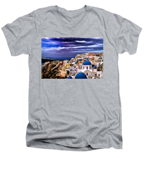 The Greek Isles Santorini Men's V-Neck T-Shirt by Tom Prendergast