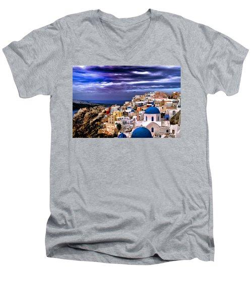 The Greek Isles Santorini Men's V-Neck T-Shirt