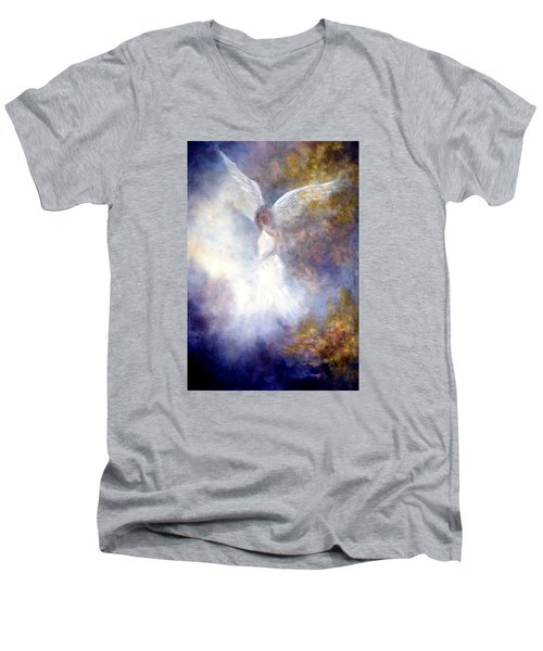 Men's V-Neck T-Shirt featuring the painting The Guardian by Marina Petro