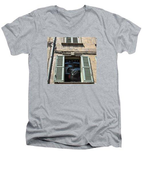 The Gucci Window Men's V-Neck T-Shirt by John Stuart Webbstock