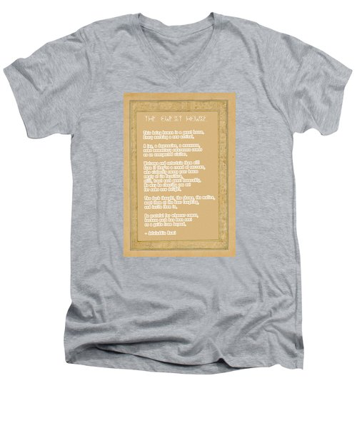 The Guest House Poem By Rumi Men's V-Neck T-Shirt by Celestial Images