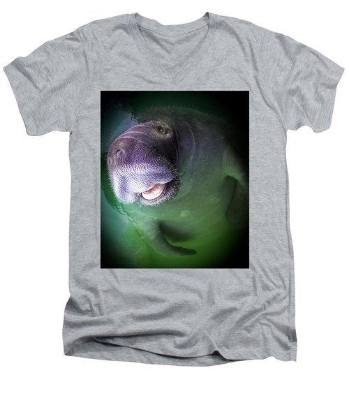 The Happy Manatee Men's V-Neck T-Shirt by Karen Wiles