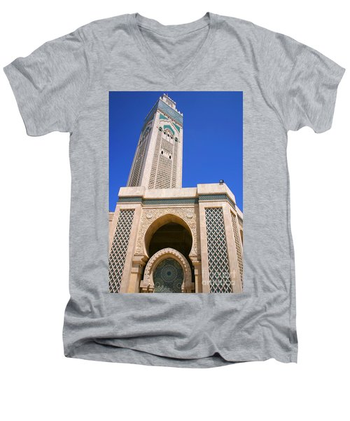 The Hassan II Mosque Grand Mosque With The Worlds Tallest 210m Minaret Sour Jdid Casablanca Morocco Men's V-Neck T-Shirt