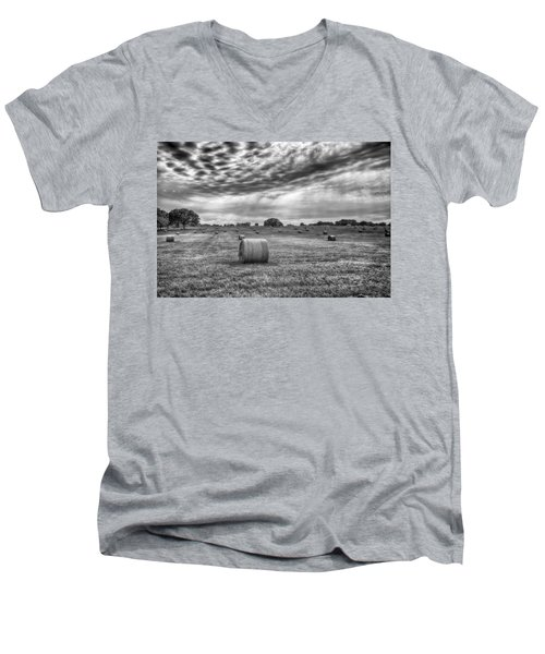 The Hay Bails Men's V-Neck T-Shirt by Howard Salmon