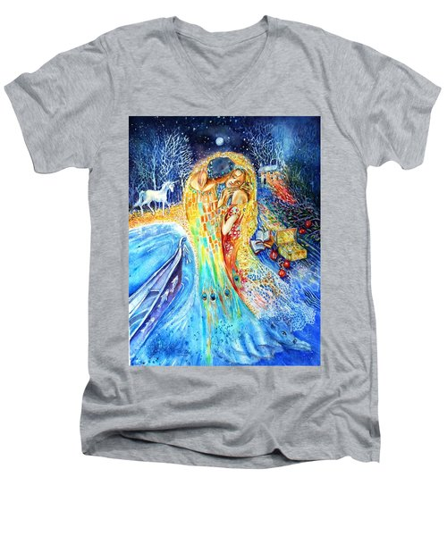 The Homecoming Kiss After Gustav Klimt Men's V-Neck T-Shirt