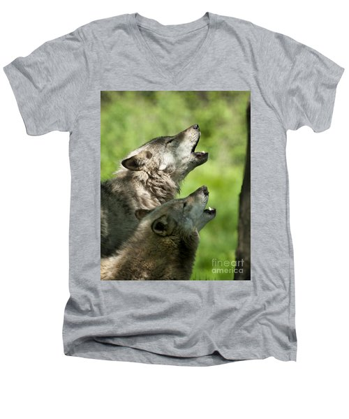 Men's V-Neck T-Shirt featuring the photograph The Howling by Wolves Only