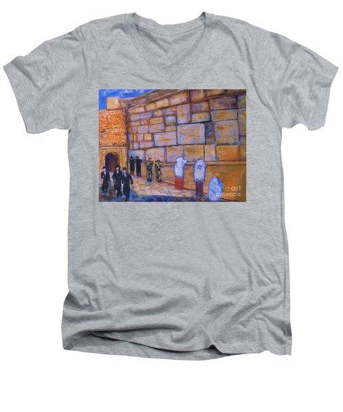 The Kotel Men's V-Neck T-Shirt by Donna Dixon