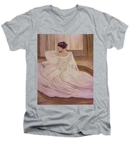 The Lady In White Men's V-Neck T-Shirt by Christy Saunders Church