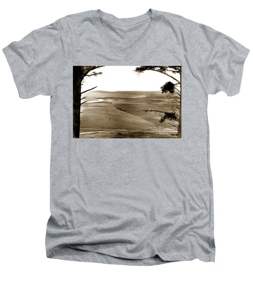 The Lagoon At The Mouth Of The Carmel River  From Fish Ranch California 1905 Men's V-Neck T-Shirt