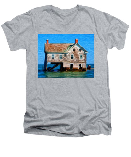 The Last House On Holland Island Men's V-Neck T-Shirt by Michael Pickett