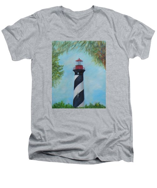 The Lighthouse In St. Augustine Florida Men's V-Neck T-Shirt