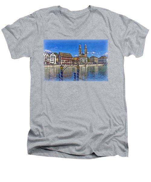 The Limmat City Men's V-Neck T-Shirt by Hanny Heim