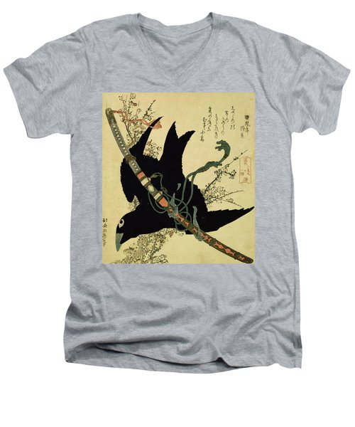 The Little Raven With The Minamoto Clan Sword Men's V-Neck T-Shirt by Katsushika Hokusai