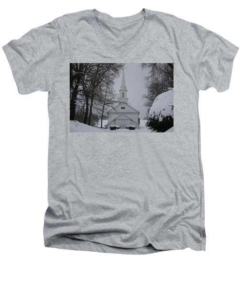 Men's V-Neck T-Shirt featuring the photograph The Little White Church by Dora Sofia Caputo Photographic Art and Design