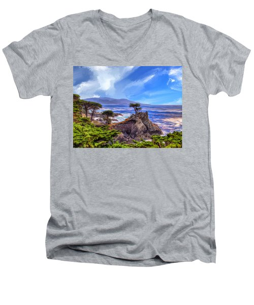 The Lone Cypress Men's V-Neck T-Shirt by Dominic Piperata