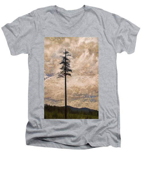 The Lone Survivor Stands In Tranquility Men's V-Neck T-Shirt by Peggy Collins