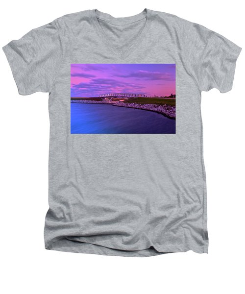 The Lonely Bridge Men's V-Neck T-Shirt by Jonah  Anderson