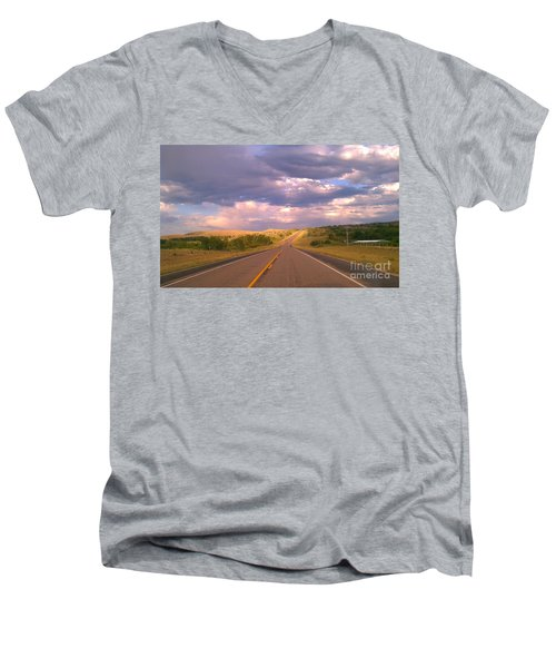 Men's V-Neck T-Shirt featuring the photograph The Long Road Home by Chris Tarpening