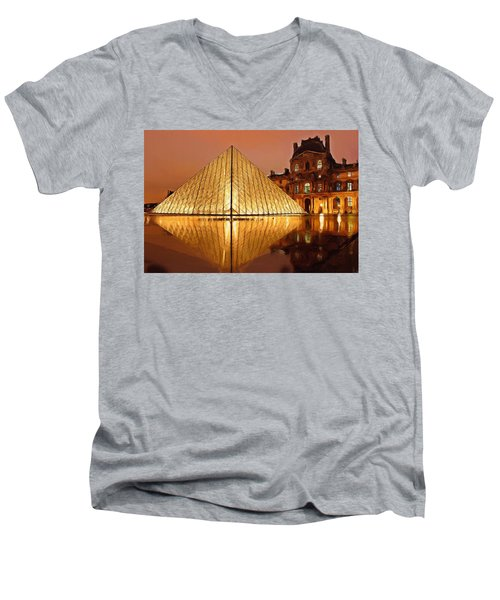 The Louvre By Night Men's V-Neck T-Shirt