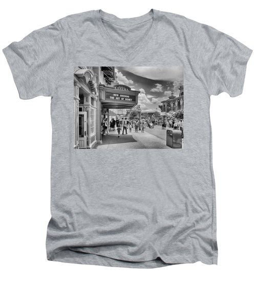 Men's V-Neck T-Shirt featuring the photograph The Main Street Cinema by Howard Salmon