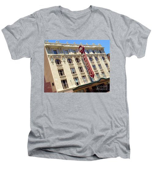 Men's V-Neck T-Shirt featuring the photograph The Majestic Theater Dallas #1 by Robert ONeil