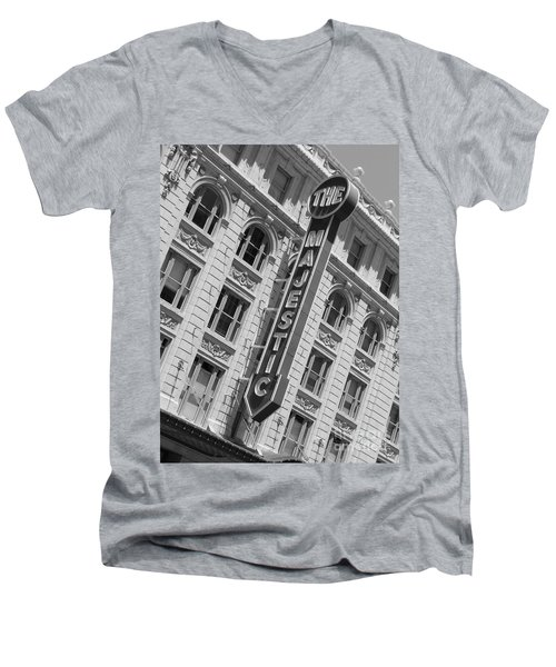 Men's V-Neck T-Shirt featuring the photograph The Majestic Theater Dallas #3 by Robert ONeil