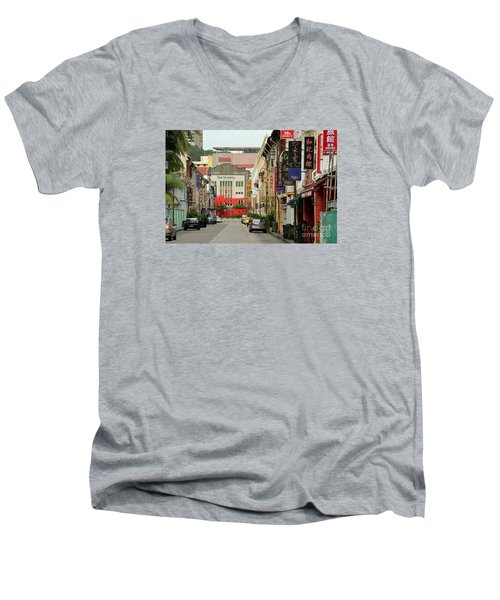 Men's V-Neck T-Shirt featuring the photograph The Majestic Theater Chinatown Singapore by Imran Ahmed