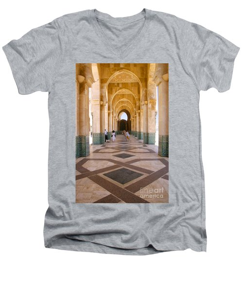 Men's V-Neck T-Shirt featuring the photograph The Massive Colonnades At The Hassan II Mosque Sour Jdid Casablanca Morocco by Ralph A  Ledergerber-Photography