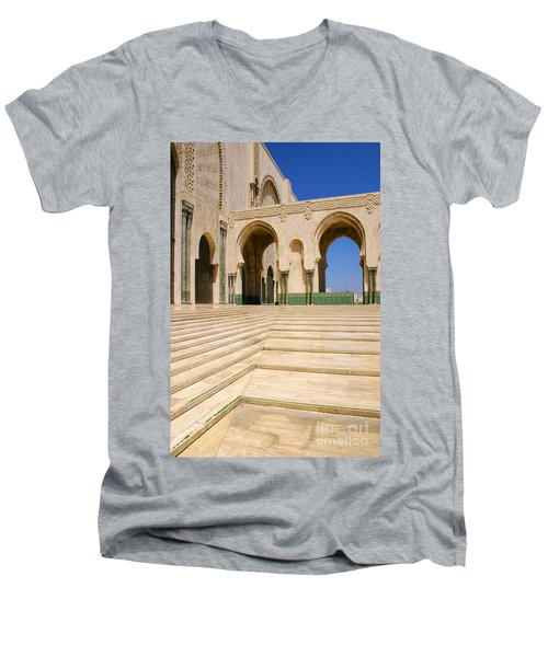 Men's V-Neck T-Shirt featuring the photograph The Massive Colonnades Leading To The Hassan II Mosque Sour Jdid Casablanca Morocco by Ralph A  Ledergerber-Photography