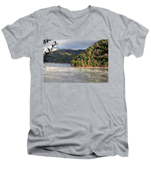 The Mists Of Watauga Men's V-Neck T-Shirt by Tom Culver