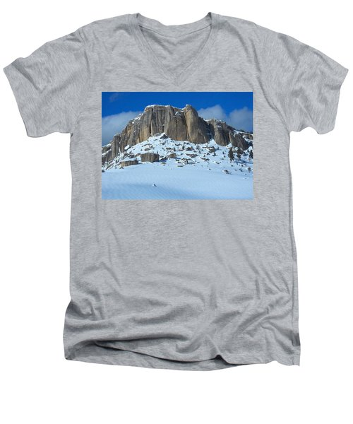The Mountain Citadel Men's V-Neck T-Shirt by Michele Myers