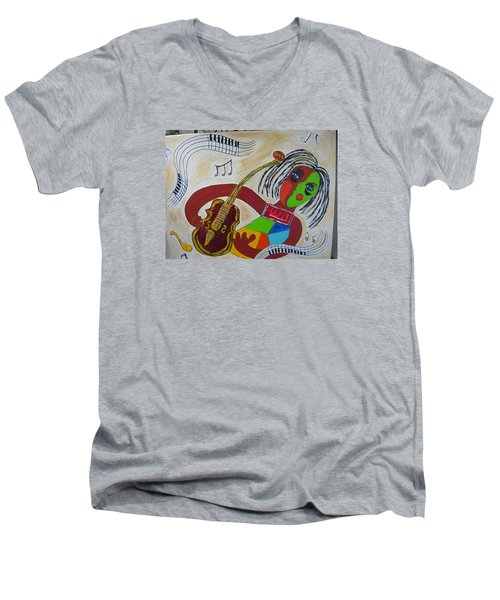 The Music Practitioner Men's V-Neck T-Shirt by Sharyn Winters