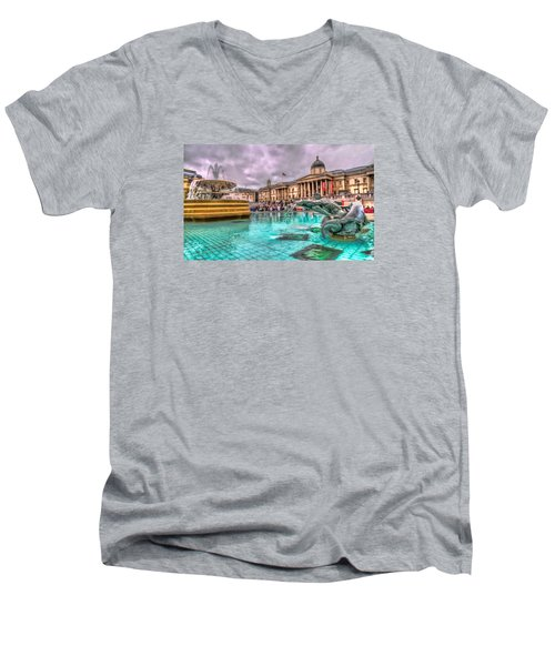 The National Gallery In Trafalgar Square Men's V-Neck T-Shirt by Tim Stanley