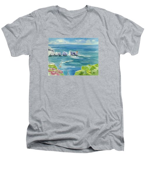 The Needles Isle Of Wight Men's V-Neck T-Shirt by Geeta Biswas