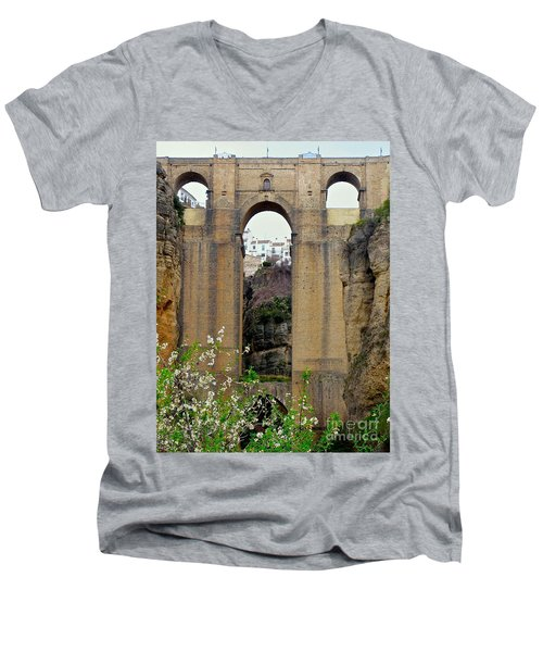 The New Bridge Men's V-Neck T-Shirt by Suzanne Oesterling